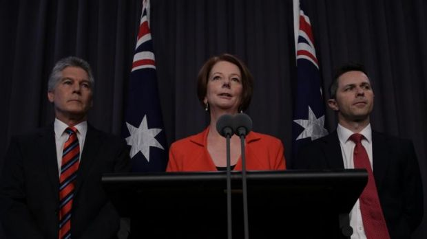 Prime Minister Julia Gillard speaks to the media during a joint press conference with Defence Minister Stephen Smith and ...