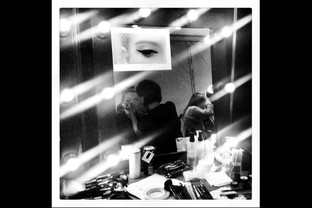 A model prepares backstage ahead of the Toi Et Moi Sydney show.