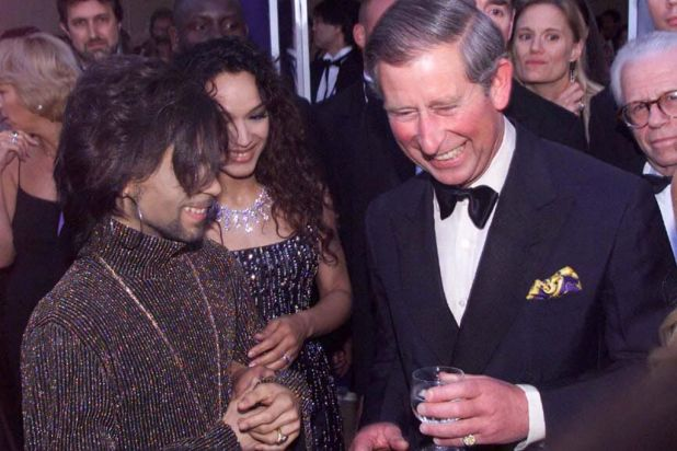 The Prince of Wales with Prince at the Versace/De Beers charity event at Syon House, London on June 9th 1999.