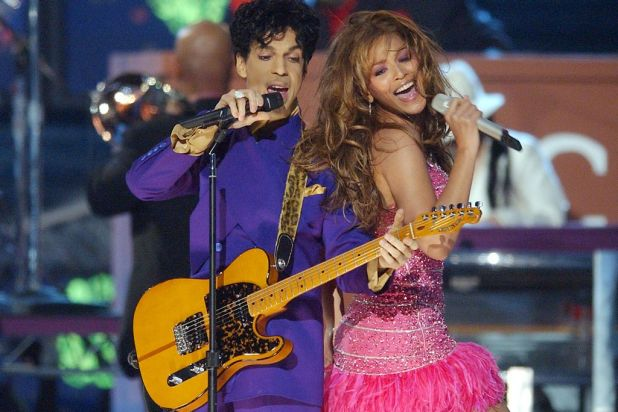 Singer/actress Beyonce Knowles and Musician Prince perform at the 46th Annual Grammy Awards held at the Staples Center ...