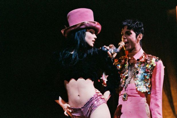 Mayte Garcia and Prince perform on stage on 'The Ultimate Live Experience' tour at Wembley Arena on March 4th, 1995 in ...