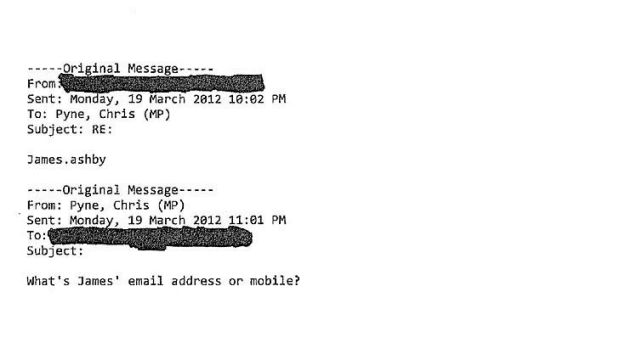 An email from Christopher Pyne asking for the contact details of James Ashby.