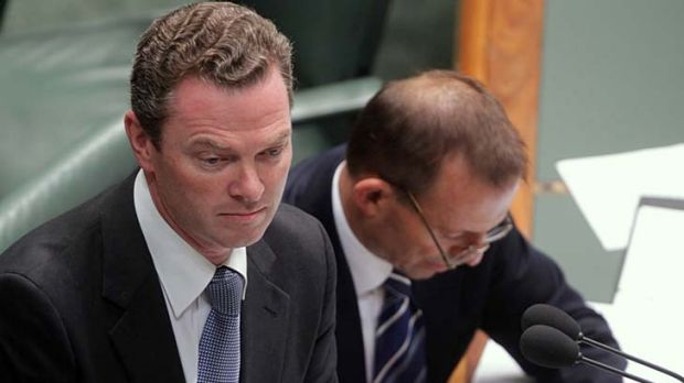 Altered his account ... Christopher Pyne, left, pictured here with Tony Abbott.
