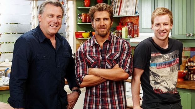 Hugh Sheridan (centre) with his <i>Rafters</i> co-stars Erik Thomson and Angus McLaren.