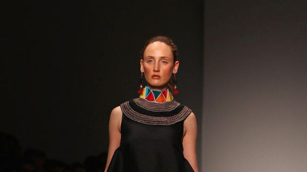 A model showcases designs by Roopa Pemmaraju on the catwalk on day four of Mercedes-Benz Fashion Week Australia ...