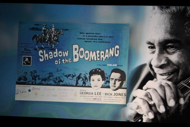 A promo card for the hit 'Shadow of the Boomerang'.