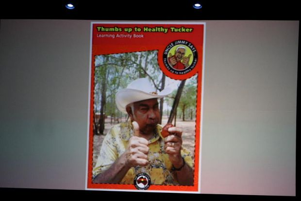 An activity book with Jimmy on the cover promoting healthy tucker.
