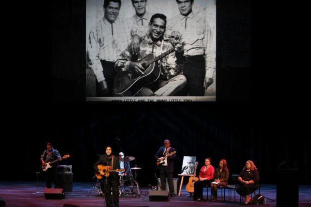 Jimmys grandson, James Henry, sings with members of the original Jimmy Little Trio made up of Cyril Green, Doug Peters ...