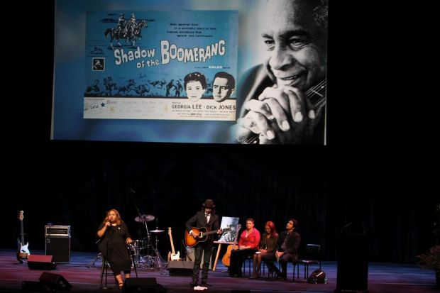 Daughter Frances Peters-Little performs a song arranged by her father called Shadow of the Boomerang.