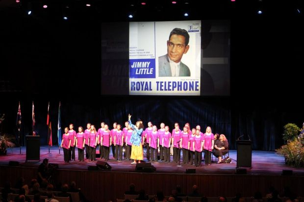 Performer Mary G and the Australian Girls Choir sing Royal Telephone, which was a big hit for Jimmy Little.