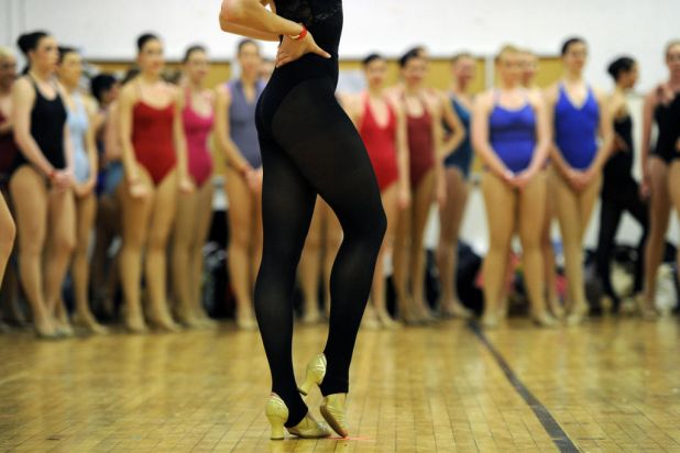Aspiring dancers audition at Radio City Music Hall.