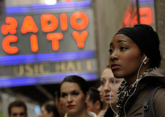 Aspiring dancers wait to audition at Radio City Music Hall.