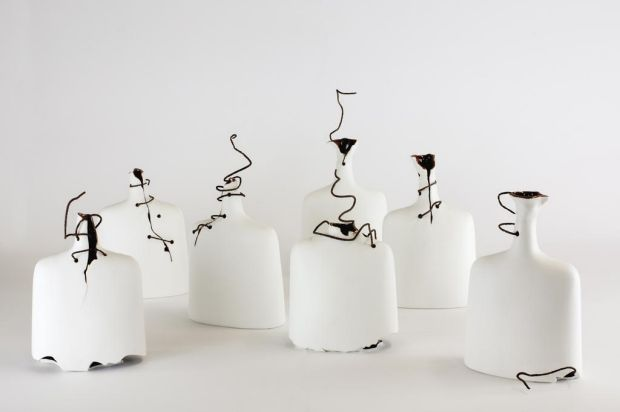 Loss, by artist Idil Abdullahi, 2012 - Slip cast porcelain with found copper wire.