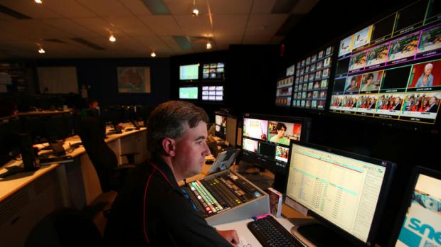 Tom White, presentation co-ordinator, in the Prime News on-air presentation control room.