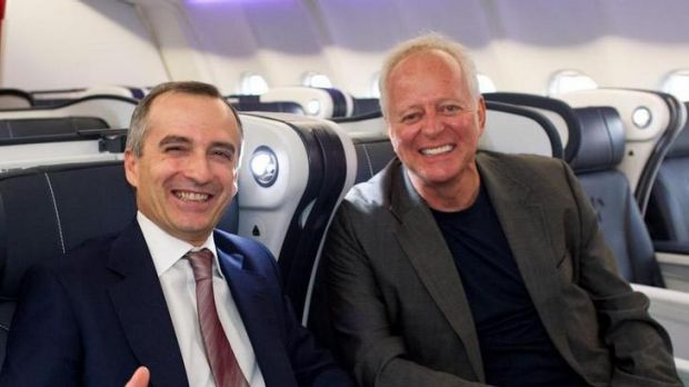 Virgin Australia chief executive John Borghetti (left) with the company's brand designer, Hans Hulsbosch, in one of the ...