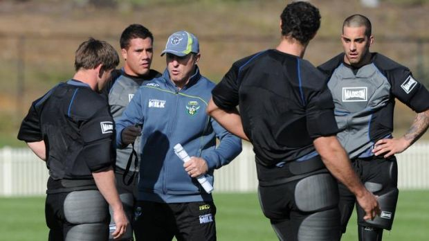 Canberra Raiders coach  David Furner instructs his players at training this week.