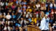 Obama makes first official campaign stop (Video Thumbnail)