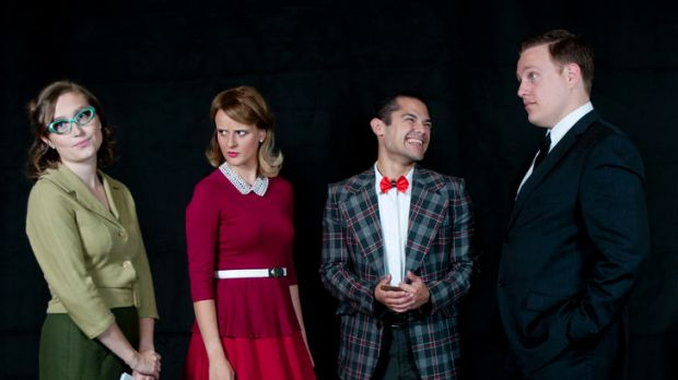 Smitty (Hannah Wood), Rosemary (Vaness de Jager), J. Pierpont Finch (Adrian Flor) and Mr Bratt (Adam Salter), from ...