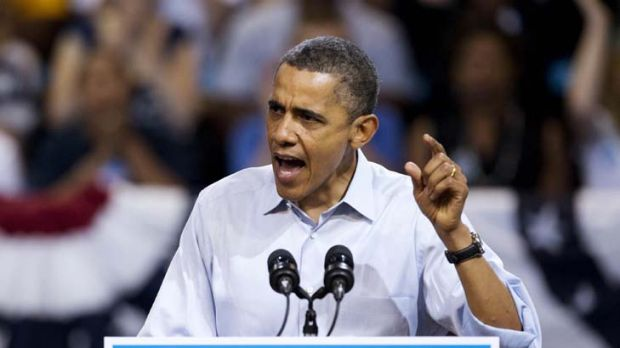 Preaching to the converted … Barack Obama addresses the crowd in Virginia during a speech in which he attacked ...