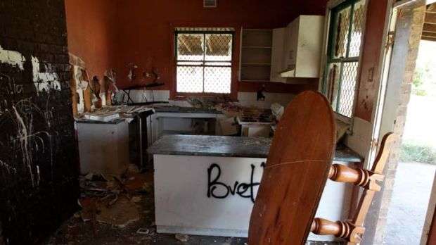 Poverty ... the damage at a vandalised home.