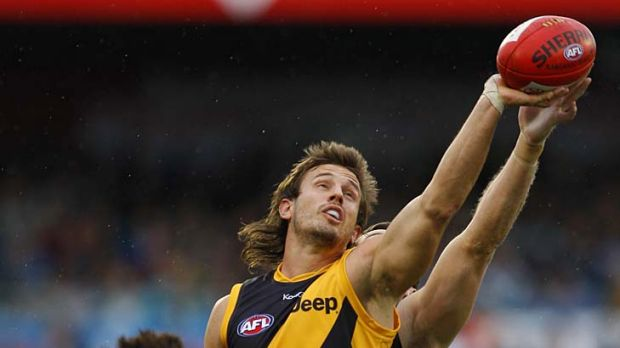 Full marks: Tiger ruckman Ivan Maric takes a one-handed grab against Port yesterday.