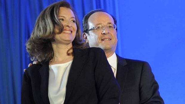 Heading to the Elysee Palace ... Francois Hollande and Valerie Trierweiler.