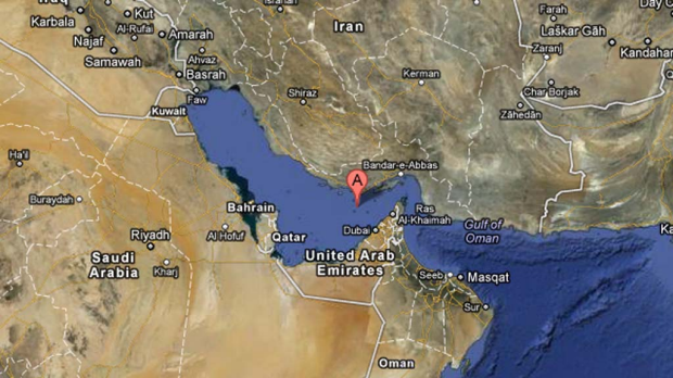 The unmarked Persian Gulf - aka Arabian Gulf - as seen on Google Maps.