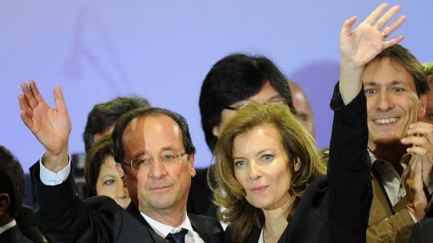 Francois Hollande and his companion, Valerie Trierweiler.