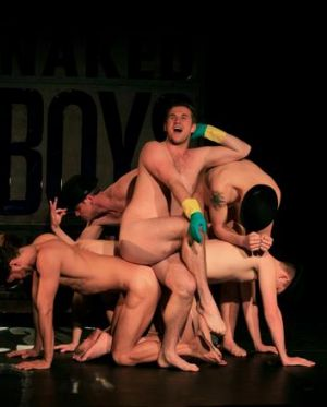 The cast of <i>Naked Boys Singing</i> rehearse at the Malthouse Theatre.