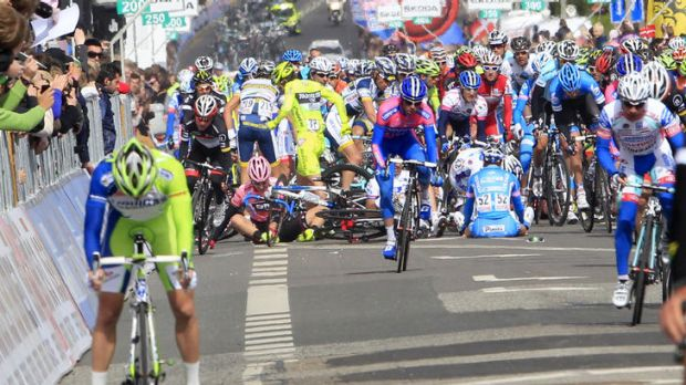 Crash ... the accident happened just 125 metres from the finish line.