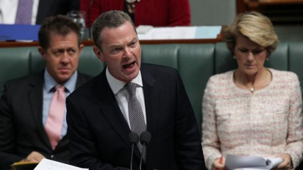 Christopher Pyne speaks during question time in the House of Representatives, where he sought to reinstate former ...