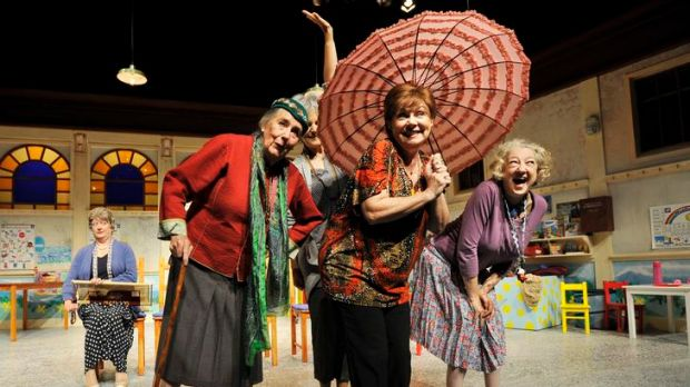 Cast from Biddies rehearse before the opening night performance at the Street Theatre in Acton Canberra.