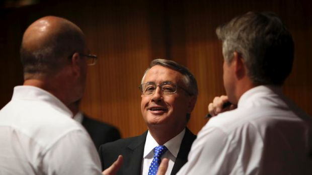 Treasurer Wayne Swan speaks to journalists as he walks through the Budget lock-up in Parliament House.