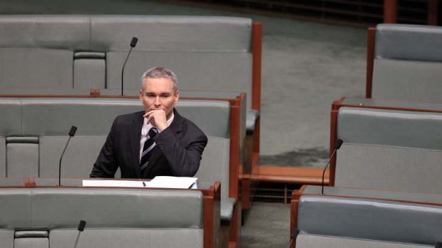 Craig Thomson sitting alone in question time yesterday.