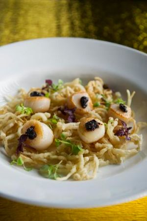 Scallops with mussels, bean paste and enoki mushroom at Malamay.