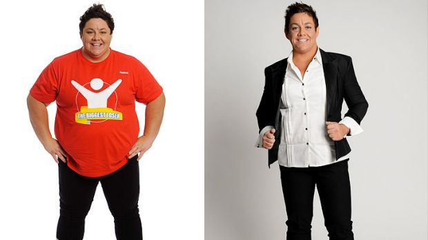Before and after: Margie Cummins shed 46 per cent of her body weight.