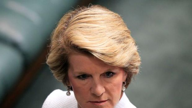 Battle of wills ... Julie Bishop gives Anna Burke the death stare in Parliament yesterday.
