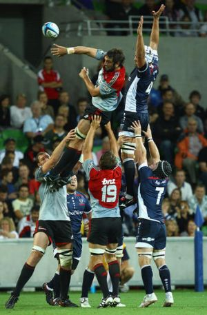 Flying high: Sam Whitelock of the Crusaders takes a lineout ball.