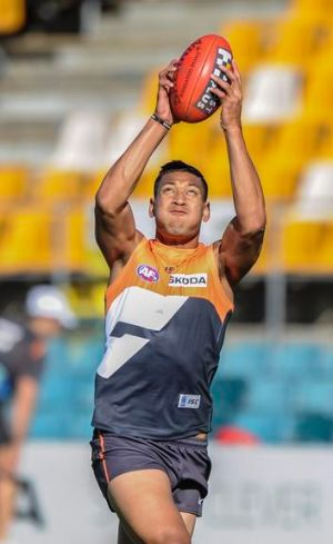27 April 2012. Sport, Canberra Times photo by Rohan Thomson. GWS Giants' Israel Folau in training ahead of tomorrows game.