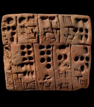 A cuneiform writing tablet (C.3000BC).