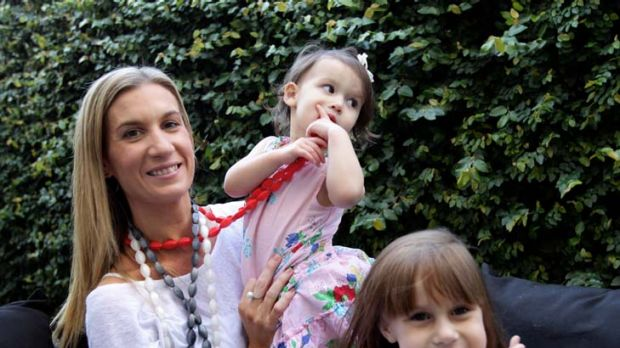 Jewels in the crown … Tash White, with daughters Indiana and Milla, has turned her home jewellery-cum-teething ...