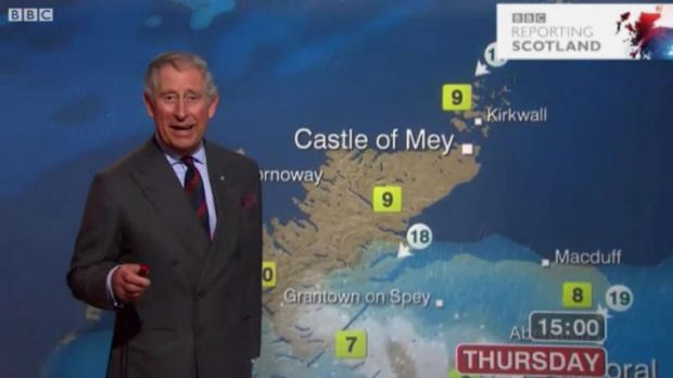 Prince Charles reads the weather on the BBC.