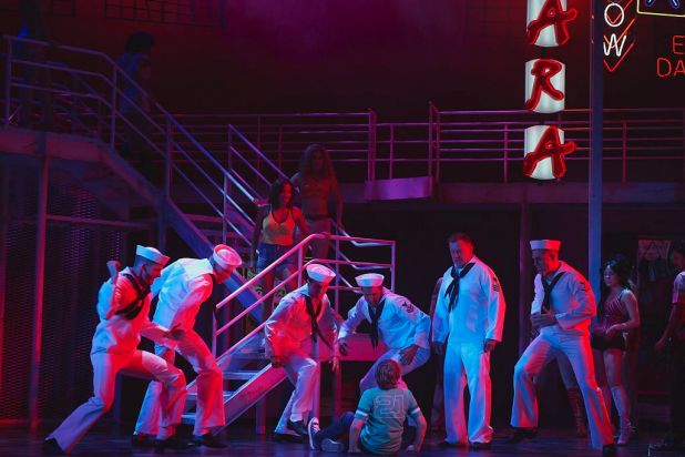 "Sailors tell a young Zack Mayo about the tough town of Manila in the opening scene from the final dress rehearsal of ""An ..."