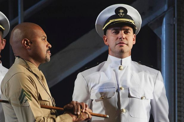 Zack Mayo (Ben Mingay) on graduation with Sergeant Emil Foley (Bert LaBonte) in a scene from the final dress rehearsal ...