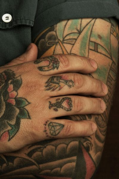 Ben Milgate  from Porteno and Bodega, Surry Hills.  Milgate's first tattoo was an Inca design tattooed in Peru on his ...