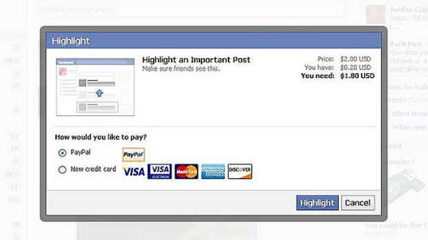 Supplied screencap of Facebook's new 'highlight' feature.