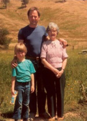 Alex Miller with his mother Winifred and his son, Ross, at Strath Creek in 1983.
