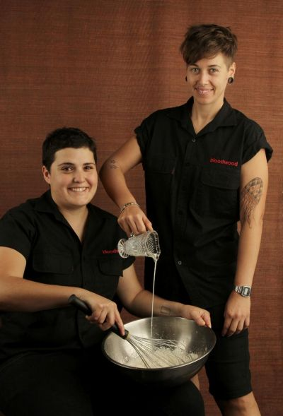 Claire van Vuuren and Olivia Serrano from Bloodwood restaurant, Newtown.  Serrano had a jellyfish tattooed on her arm ...