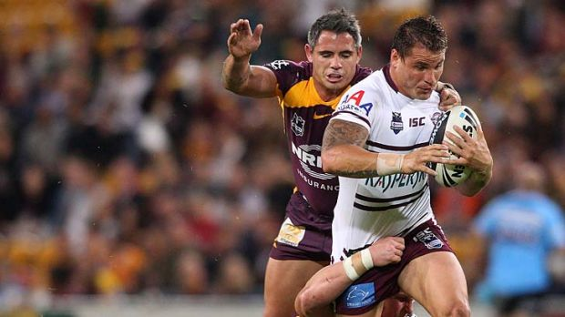 Anthony Watmough charges upfield for the Sea Eagles.