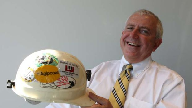 Not hanging his hat up just yet … Tony Haggarty of Whitehaven Coal with his first hard hat.